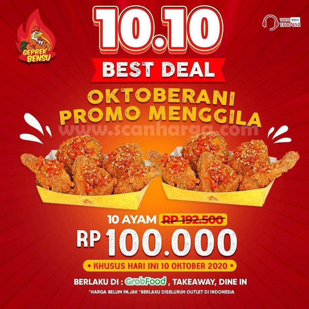 Geprek Bensu Best Deal 10.10 - Promo 10 Pcs Ayam Cuma Rp 100.000