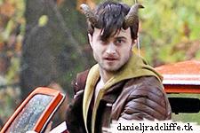 Updated: Daniel Radcliffe on the set of Horns: graveyard scenes