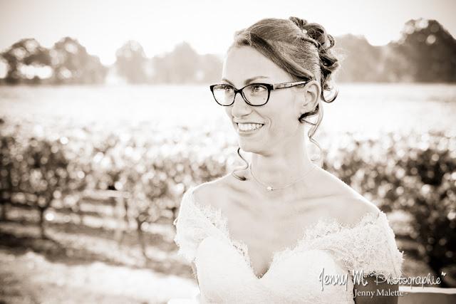 portrait de la mariée, photo sépia cérémonie mariage