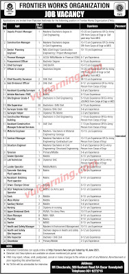 Frontier Works Organization FWO Jobs 2021 for Site Supervisors, Site Engineers