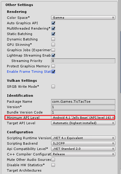 Player setting in unity