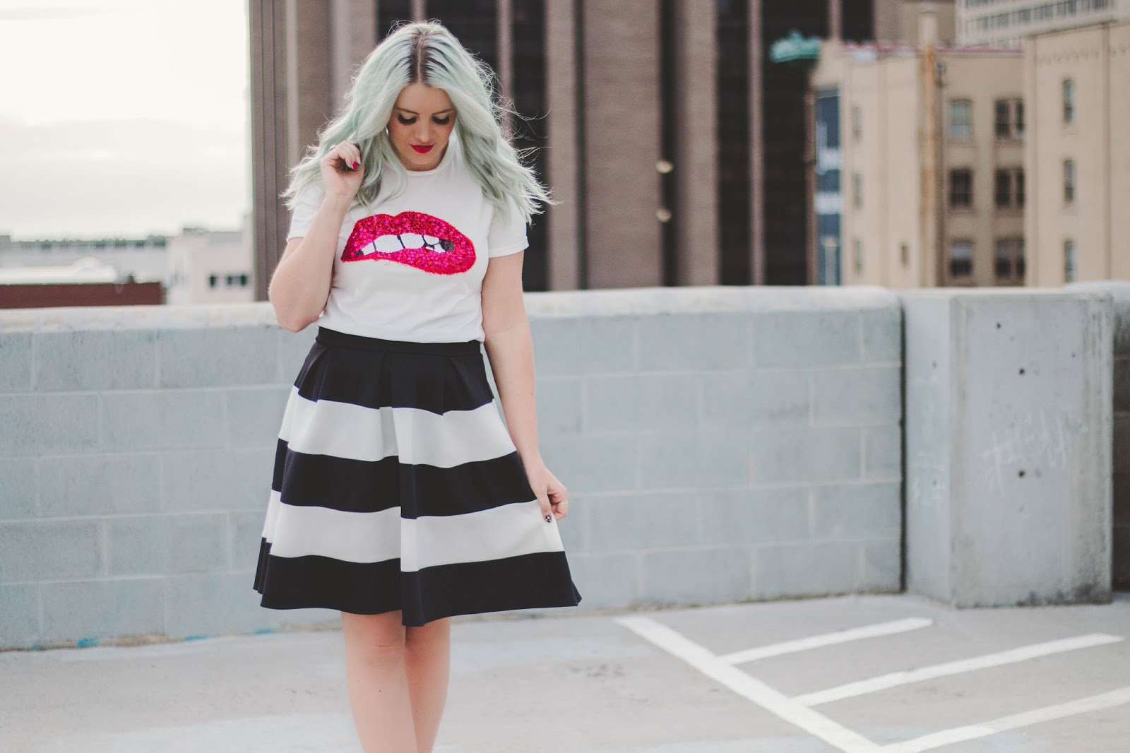 Striped Skirt, Utah Fashion Blogger, Modest Outfit