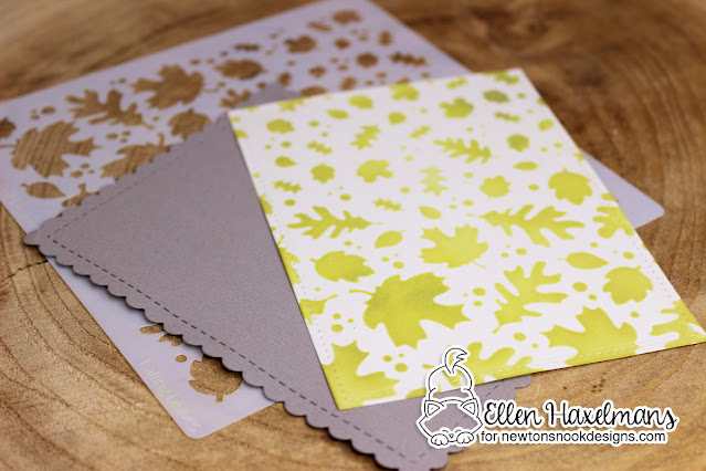 Baby Card by Ellen Haxelmans | Falling Leaves Stencil and Frames & Flags Die Set by Newton's Nook Designs #newtonsnook #handmade