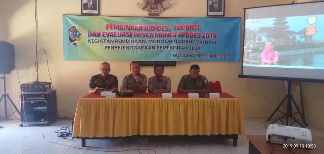 Danramil Gondang Hadiri Pembukaan Pembinaan RKPDes Tupoksi dan Evaluasi Pasca Monev APBDes 2019