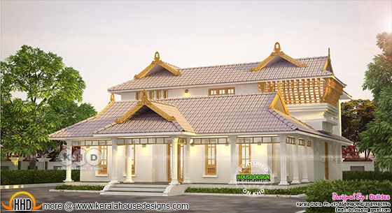 Beautiful and stylish Kerala traditional home design