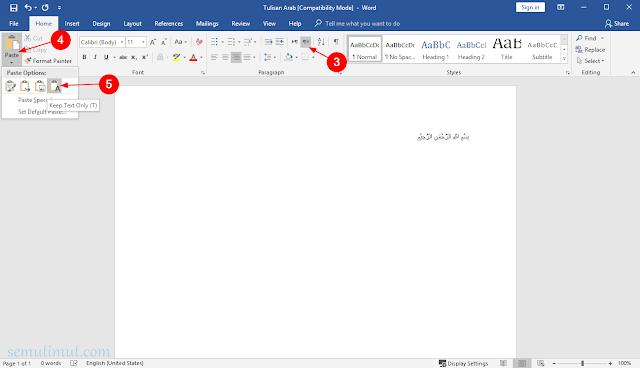 cara menulis arab pada microsoft word