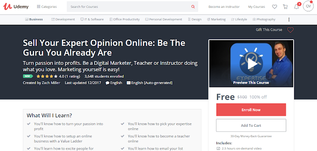 Sell Your Expert Opinion Online: Be The Guru You Already Are-Udemy Free (100%)