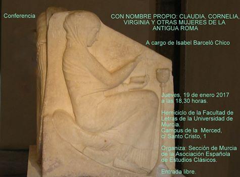Conferencia: Con nombre propio: Claudia, Cornelia, Virginia y otras mujeres de la Antigua Roma