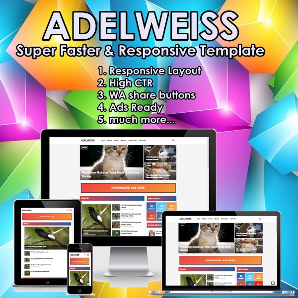 ADELWEISS Blogger Template Free 2018