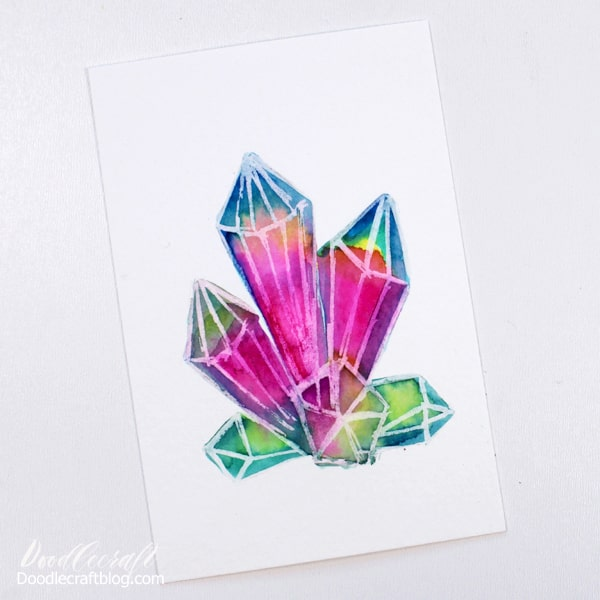 How to paint watercolor galaxy crystals for beginners by Doodlecraft