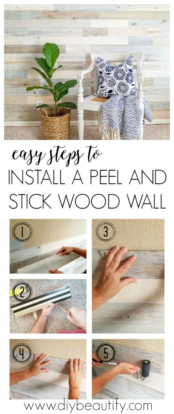 installing peel and stick wood walls | diy beautify