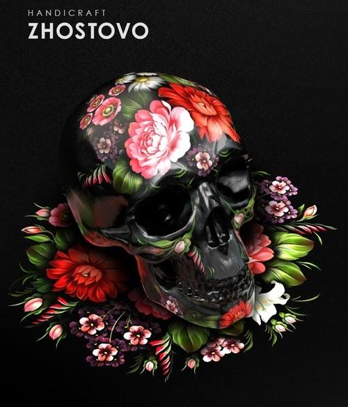 06-Zhostov-Style-Sasha-Vinogradova-Russian-Folk-Panting-Skulls-www-designstack-co
