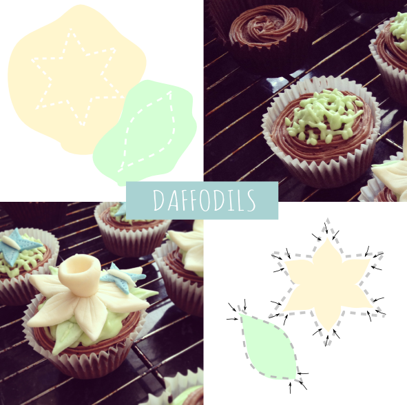 Daffodils easter cupcake how to DIY