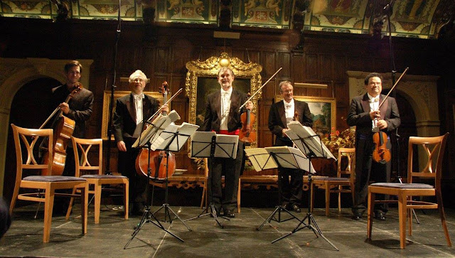 Hatfield House Chamber Music Festival: Guy Johnston and the Endellion String Quartet in the Marble Hall (Photo Rose Cecil)