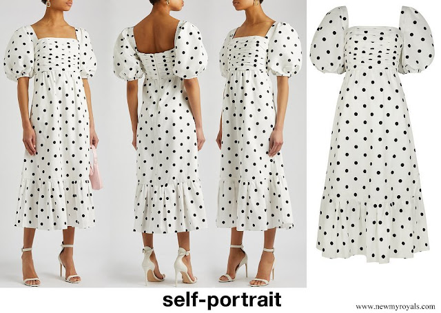 Princess Beatrice wore SELF PORTRAIT Polka-dot taffeta midi dress