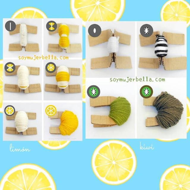 Cómo hacer pompones de frutas paso a paso