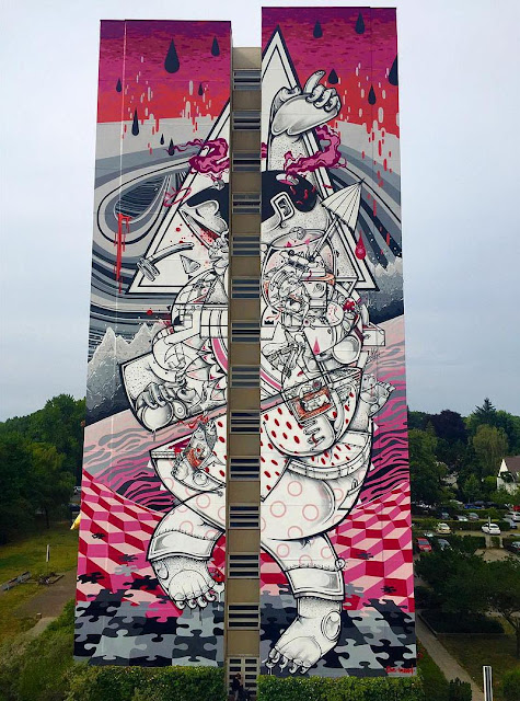 Berlin, Germany is the latest city to welcome an artwork from the twin duo Raoul and Davide Perre, better known as How & Nosm.
