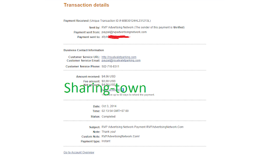 RVPAdvertising Network payment proof