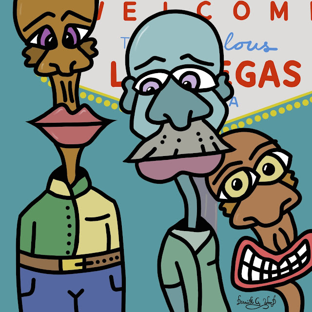 three fashionable young men in front of famous las vegas sign drawing
