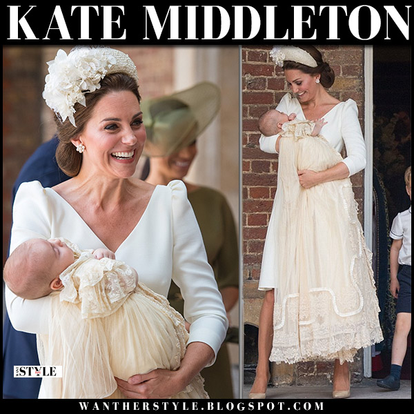 Kate Middleton in cream white puff sleeve dress alexander mcqueen prince louis christening royal family fashion