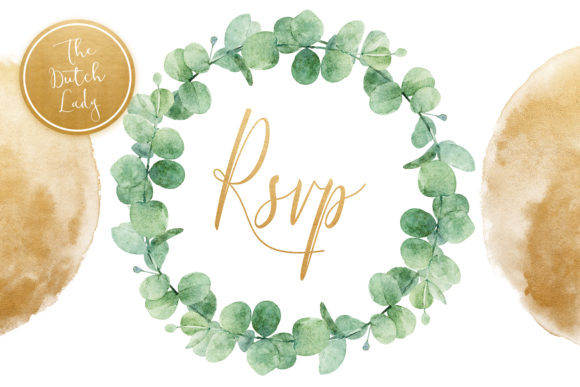 Eucalyptus Wedding Card Clipart Set