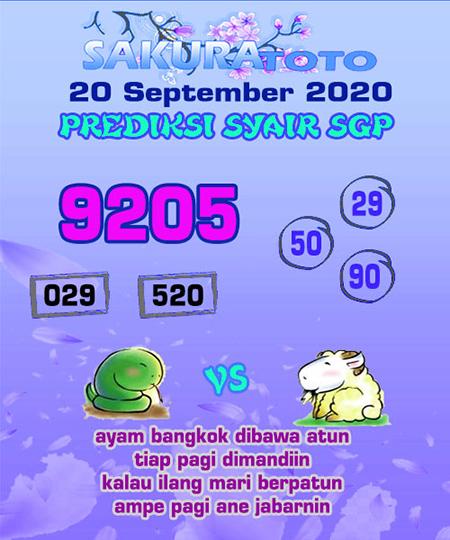 Prediksi Sakuratoto SGP Minggu 20 September 2020