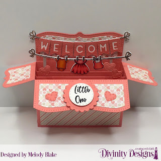 Divinity Designs Stamp/Die Duos: Baby Clothesline, Custom Dies: Surprise Box Wide, Scalloped Circles, Alphabet Flags, Double Stitched Circles, Mini Stitched Hearts, Paper Collection: Baby Girl