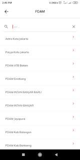 Screenshot pilihan daerah yang terjangkau PDAM di LinkAja