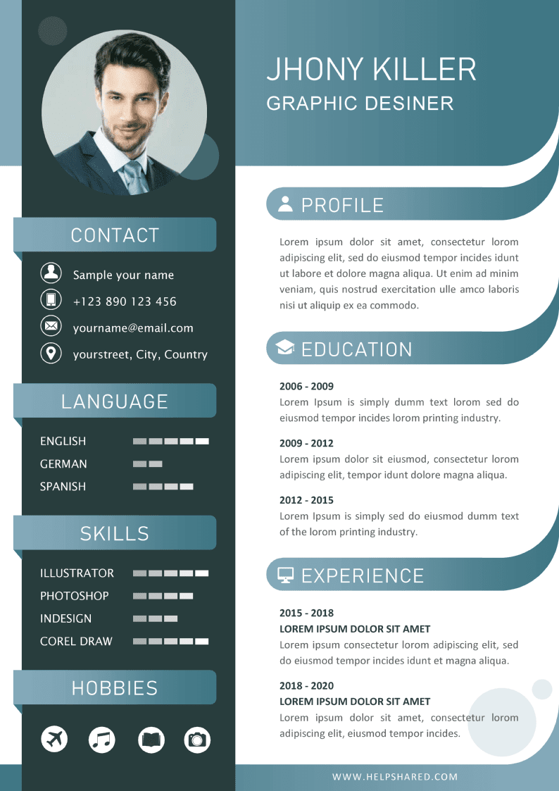 curriculum cv template with flat design 2