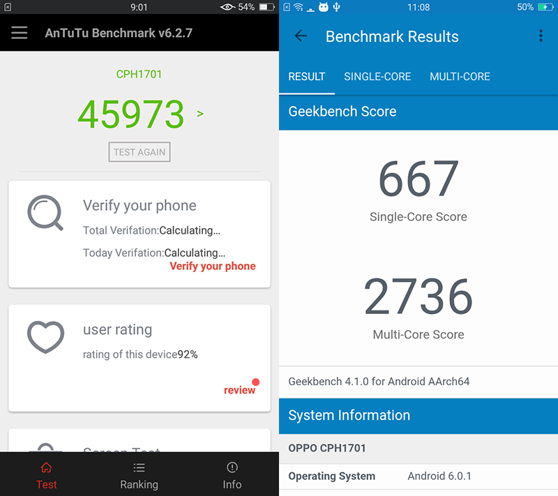 Antutu and Geekbench score