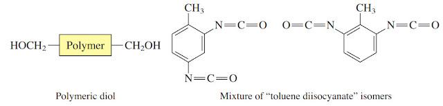 """Poliuretan adalah makromolekul yang terbentuk dari diol dan diisosianat. Dalam kebanyakan kasus diol adalah polimer dan diisosianat adalah campuran dari isomer """"toluene diisocyanate""""."""