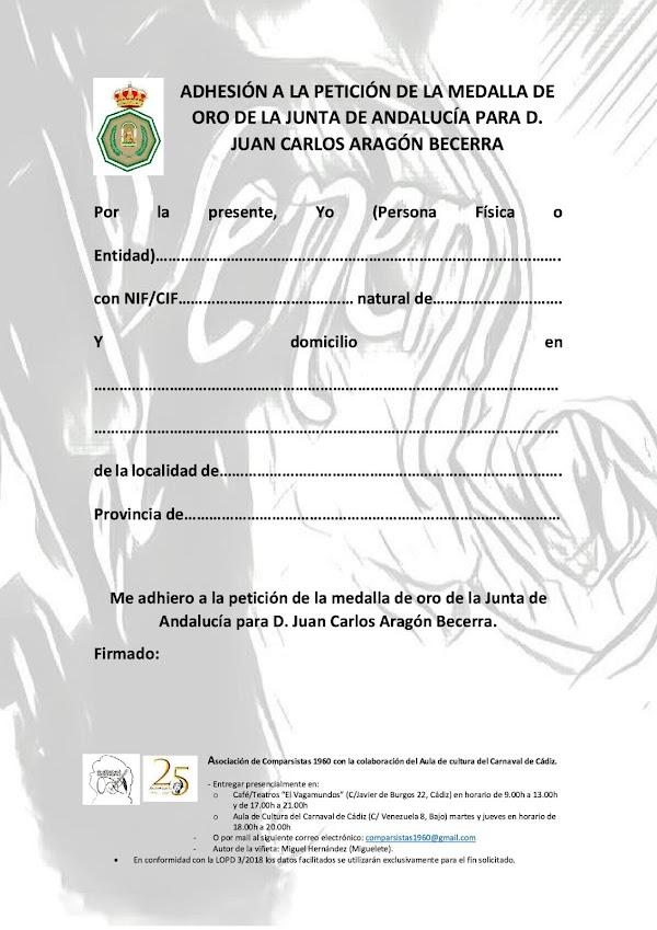Petición de la medalla de oro de la Junta de Andalucía y la medalla de las Bellas Artes para D. Juan Carlos Aragón