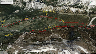 Map showing our hike route from Cortina to Faloria.