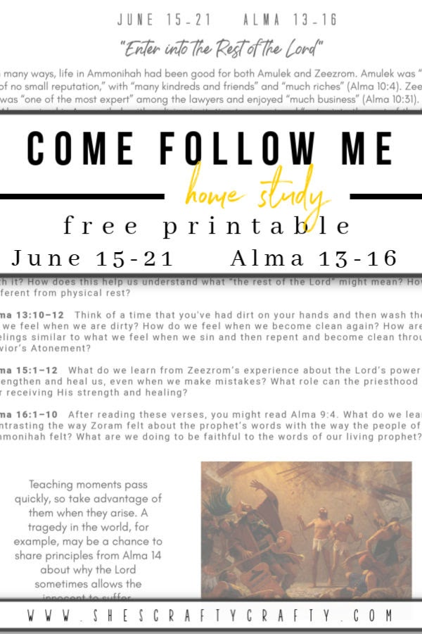 Come Follow Me free printable June 15-21