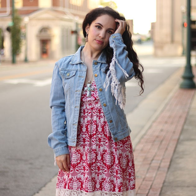 LovelyWholeSale Blue Denim Fringe Jacket