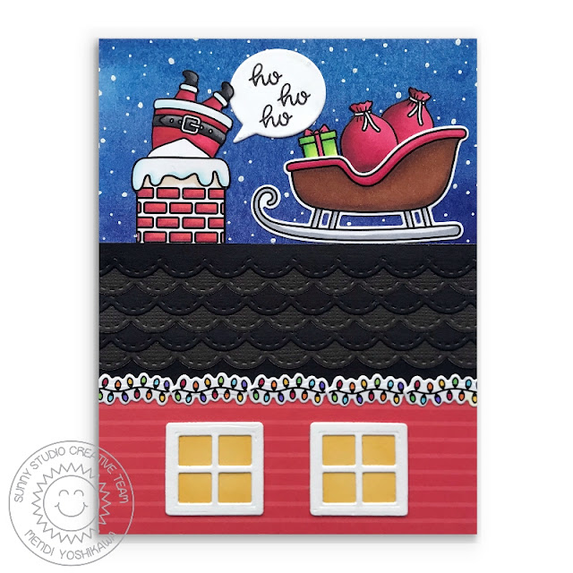 Sunny Studio: Santa in Chimney with Sleigh Holiday House Christmas Card (using Santa Claus Lane Stamps & Sweet Treats House Add-on & Stitched Scalloped Dies)