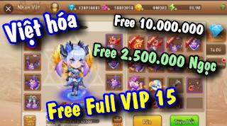Tải game lậu mobile Gunpow Việt hóa Free Full VIP 15 + 10.000.000Kim Cương & 2.500.000 Ngọc