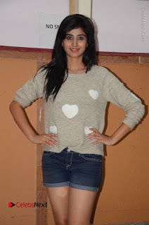 Actress Model Shamili (Varshini Sounderajan) Stills in Denim Shorts at Swachh Hyderabad Cricket Press Meet  0017.JPG