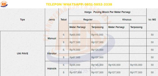Harga Paving Block Cacing / zigzag / Unipave Depok dan Juga Jasa Pasang Conblock Per M2
