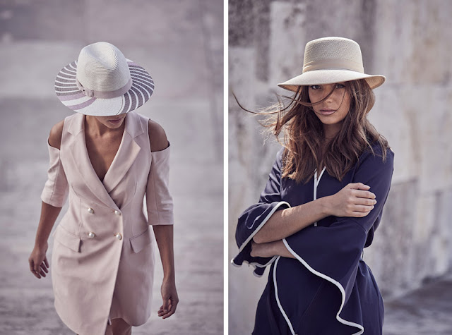 Девушка в элегантном платье и соломенной шляпе федоре летом в городе