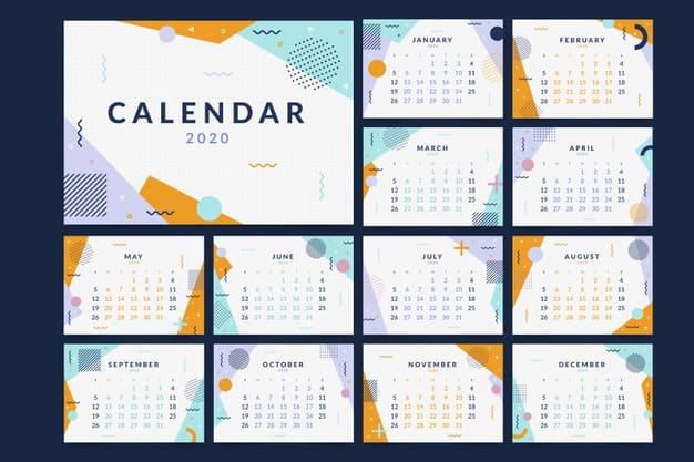 Plantilla editable de calendario 2020 gratis