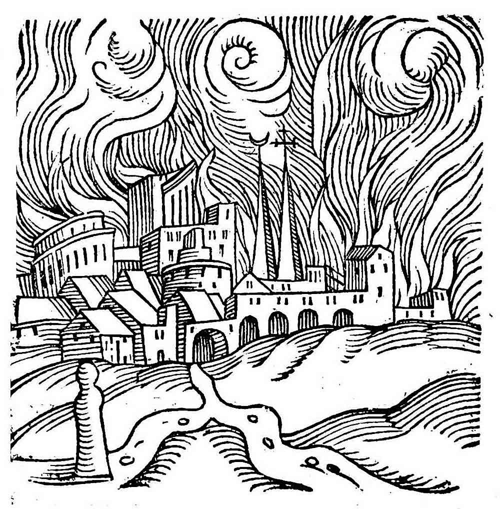 a 1557 illustration of fleeing rats from an urban fire