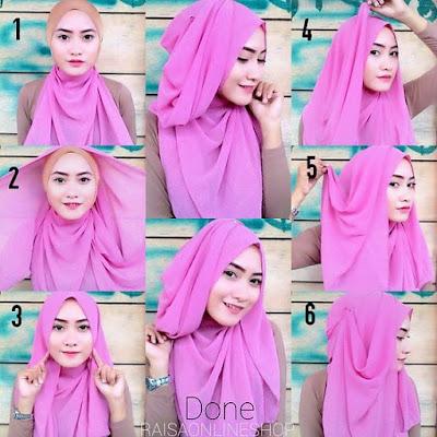 Tutorial Hijab Turban Segi Empat Modern Gaya #13 Chic Drappery