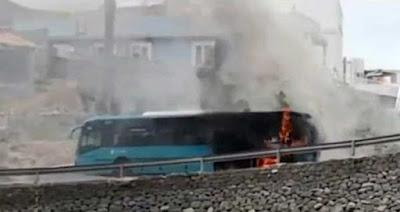 Guagua incendiada en Cardones, Arucas