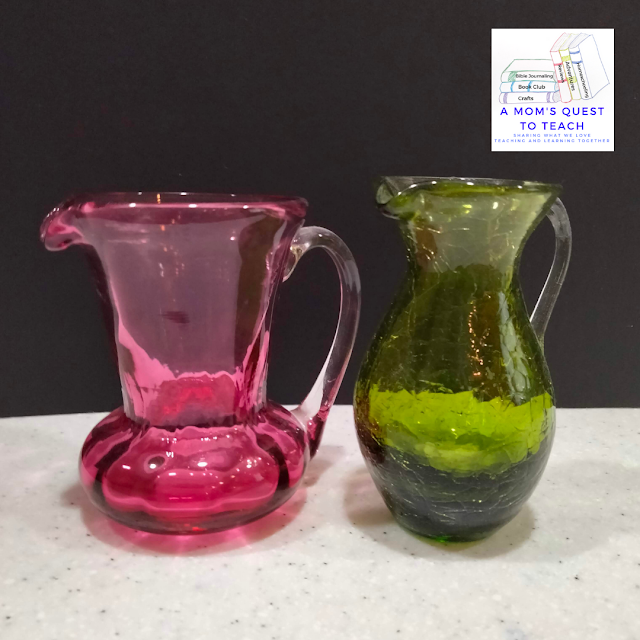 A Mom's Quest to Teach logo; Pink and blue vases. Sharing some collectable vases