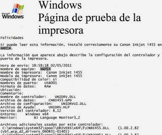in windows test page