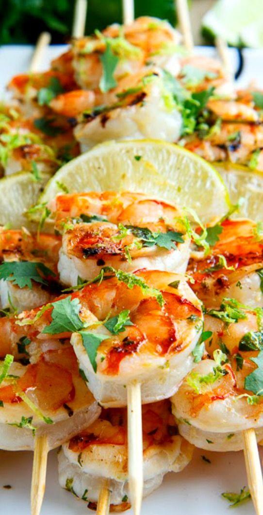 Cilantro Lime Grilled Shrimp #SEAFOOD #LIME #GLUTENFREE