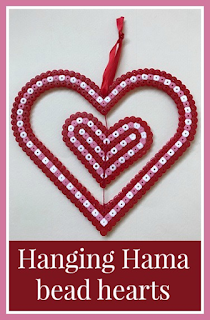 Hanging spinning Hama bead heart decoration for Valentine's Day