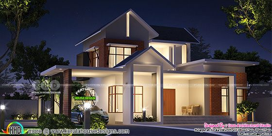 Mix roof style home plan 2600 square feet