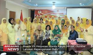 Musda VII Himpunan Wanita Karya (HWK) Sumbar